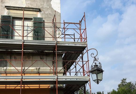 foto lavori di restauro e impalcature - Villa di Marlia