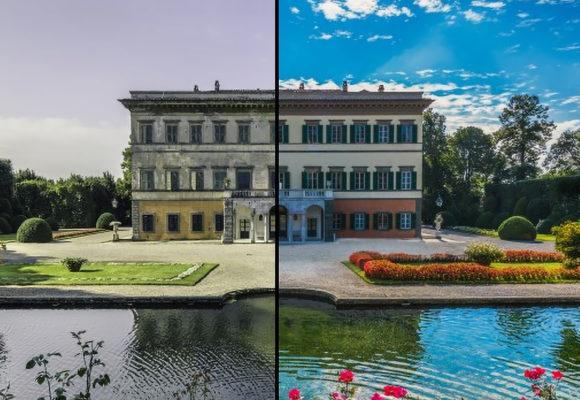 Restauro della Villa Reale prima e dopo
