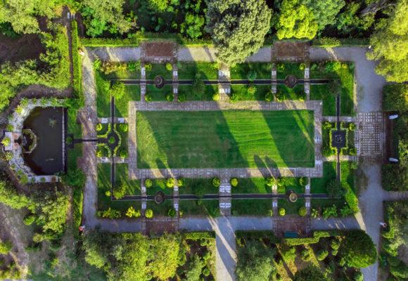 Veduta aerea del Giardino Spagnolo, Villa Reale di Marlia - Foto di Vincenzo Tambasco