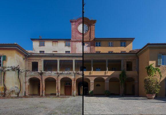 Villa dell'Orologio prima e dopo il restauro - Borgogni